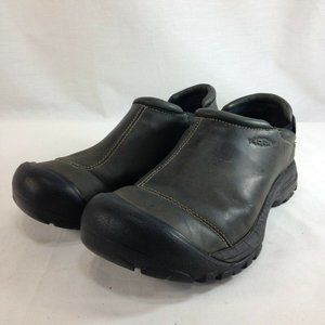 Keen Shoes Mens 8 Gray Leather Slip On Moc Mule